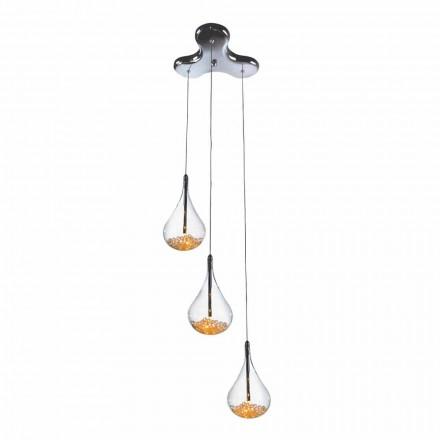 Pendelleuchte mit 3 oder 4 Leuchten aus Borosilikatglas und Metall - Birnen