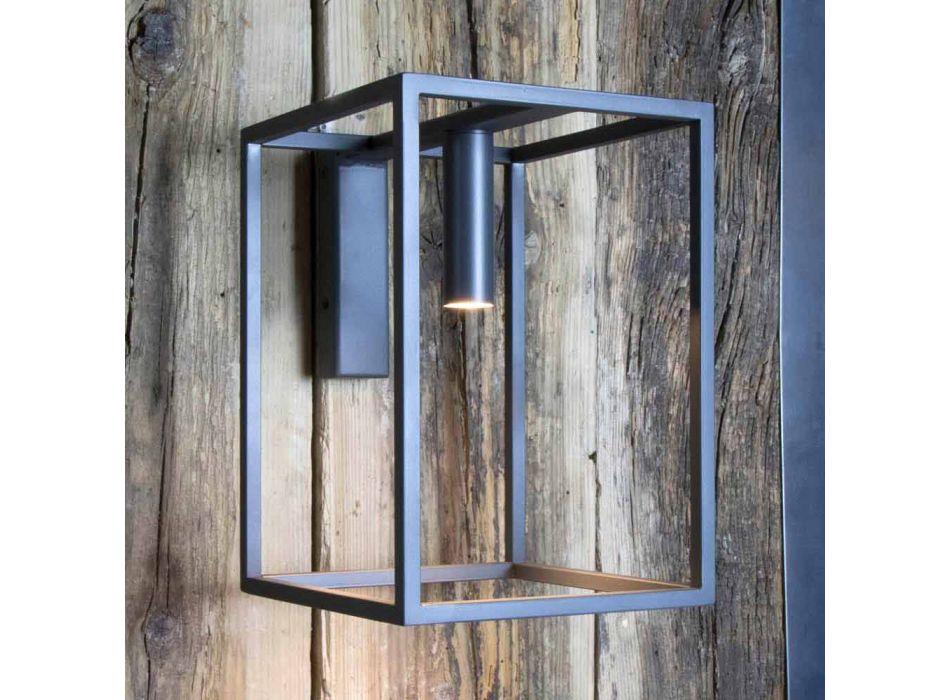 Außenwandleuchte aus Eisen und Aluminium mit LED Made in Italy - Cubola
