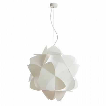 Pendelleuchte 3 Lichter weiße Perle, Durchmesser 63 cm, Kaly
