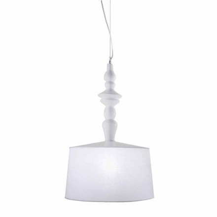 Hängelampe aus weißer Keramik. Shade in Linen Short Design - Cadabra