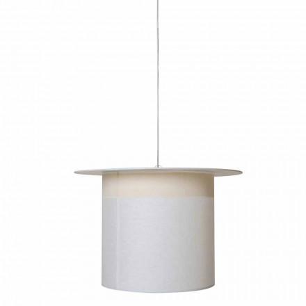 Cylinder Design White Leinen Hängelampe, Made in Italy - Magic