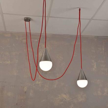 Design Hängelampe mit 2 Lichtern mit rotem Kabel Chrome