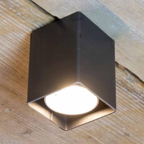Artisan Lampe aus schwarzem Eisen mit kubischer Form Made in Italy - Cubino