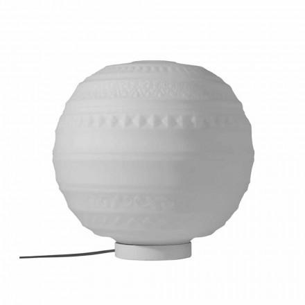 Tischlampe in weißem Satin Glas und Metall Modernes Design - Morse