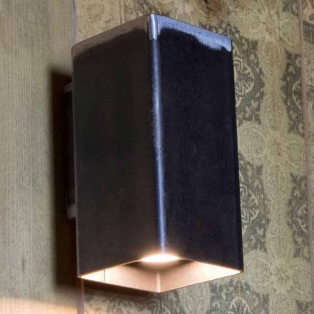 Handgemachte quadratische Wandleuchte aus schwarzem Eisen Made in Italy - Cubino