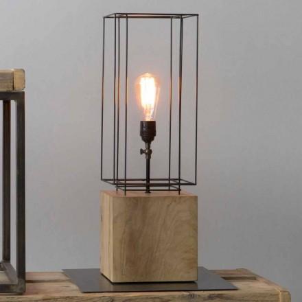 Handgefertigte Tischlampe aus Eisen mit Holzsockel Made in Italy - Olivenbaum