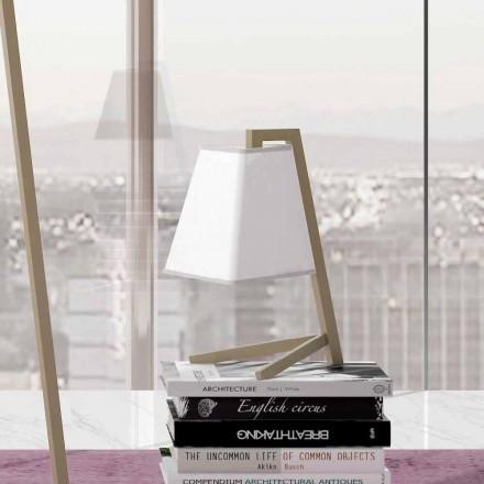 Tischlampe mit Struktur aus Metall und Stoff Made in Italy - Barton