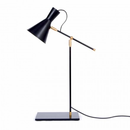 Tischlampe aus Eisen und Aluminium Matt Schwarz Farbe Made in Italy - Malita