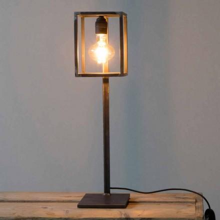 Schwarze Eisentischlampe mit Baumwollkabel Made in Italy - Einzigartig