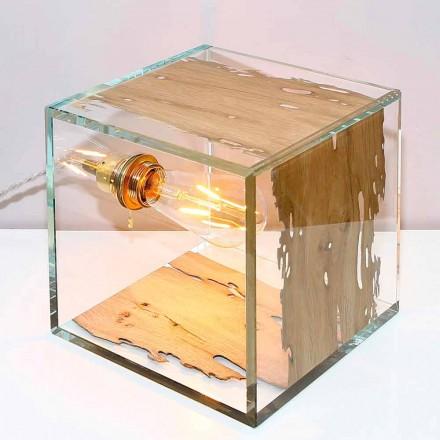 Tischlampe aus Briccola Holz aus Venedig und Glas Cà d'oro 22