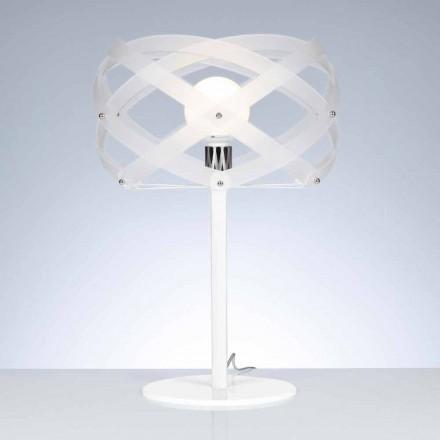 Tischlampe aus satiniertem weißem Methacrylat Durchmesser 40 cm Vanna