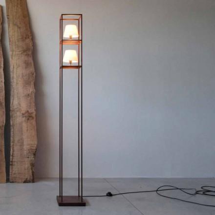 Handgefertigte Eisen Stehlampe Corten Finish Made in Italy - Turm