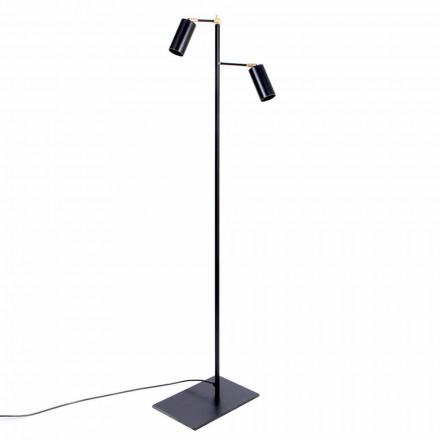 Schwarze handgefertigte Stehlampe mit Messingdetails Made in Italy - Asterix