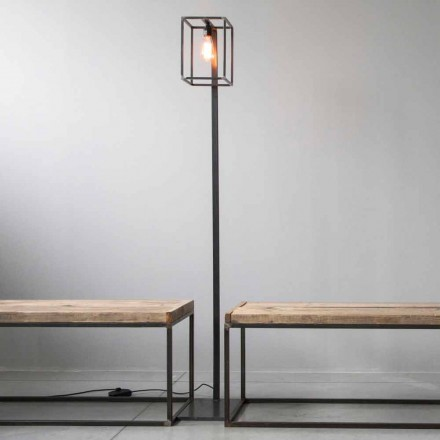 Stehlampe mit Artisan Black Iron Struktur Made in Italy - Cubola