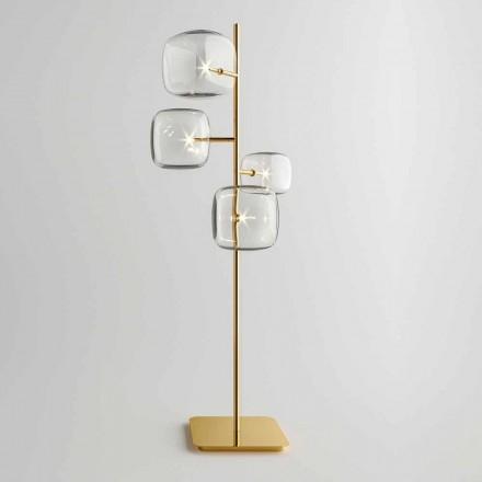 Design Stehleuchte mit glänzender Metallstruktur Made in Italy - Donatina