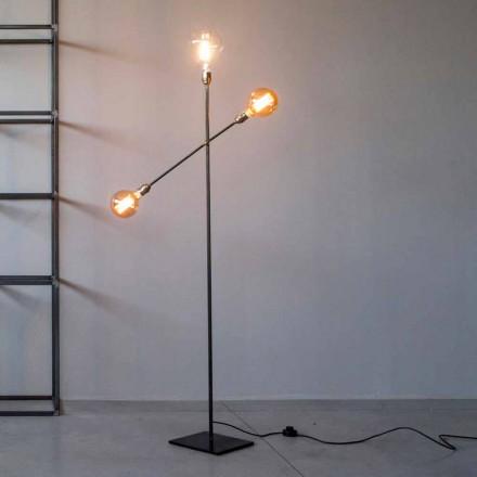 Design Stehleuchte aus Eisen mit verstellbaren Lichtern Made in Italy - Melita