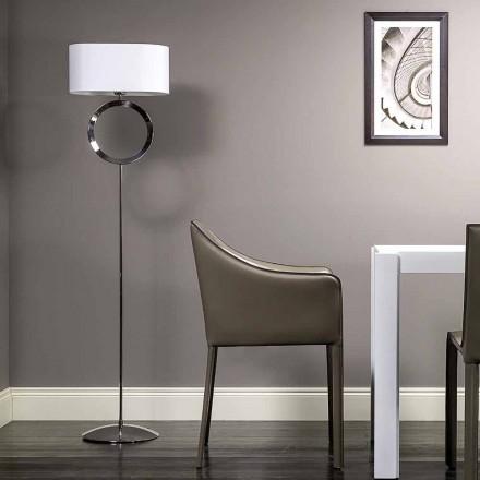 Stehlampe aus Stahl mit weißem Lampenschirm Hmax 149,5cm Moon