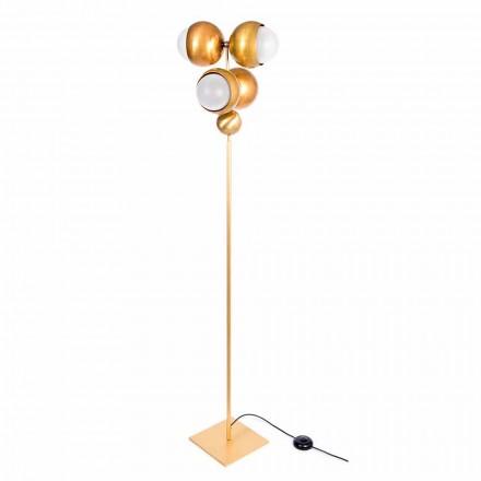 Moderne handwerkliche Stehlampe aus Messing und Glas Made in Italy - Gandia