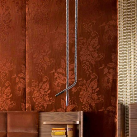 Design Pendellampe aus Leder und Metall Grilli Snake made Italy