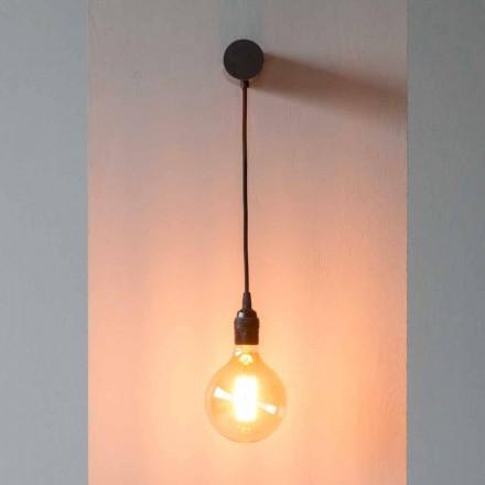 Design Lampe aus schwarzem Eisen mit Baumwollkabel Made in Italy - Cladia