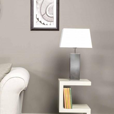 Moderne Tischlampe aus Stahl und weißem Renna Lampenschirm