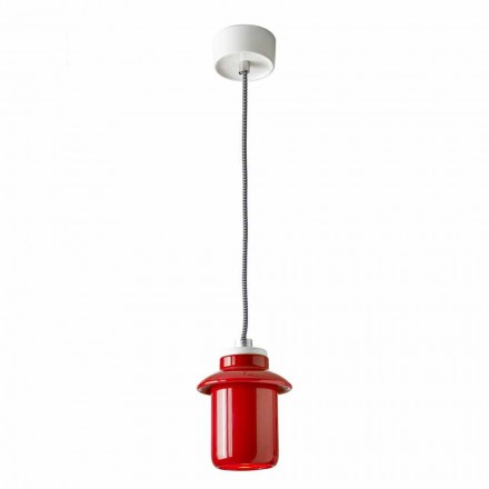 Designlampe aus roter Keramik, hergestellt in Italy Asia