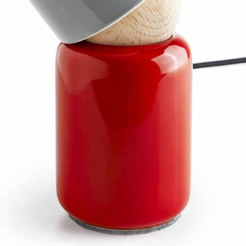 Moderne Tischlampe aus Keramik und Buchenholz hergestellt in Italien, Asien