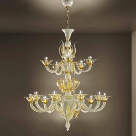 15-flammiger Kronleuchter aus weißem und goldenem venezianischem Glas, hergestellt in Italien - Agustina