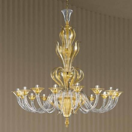 Handgefertigter Kronleuchter aus venezianischem Glas mit 16 Lichtern, Made in Italy - Agustina