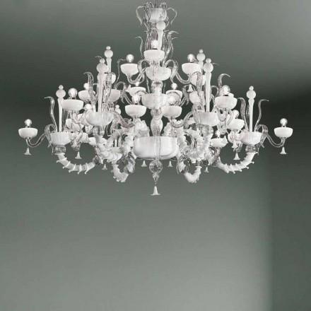 Kronleuchter mit 27 Lichtern aus weißem Venedig Glas, handgefertigt in Italien - Regina