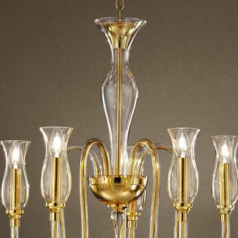 Kronleuchter mit 5 Lichtern handgefertigt in Italien aus venezianischem Glas - Vittoria