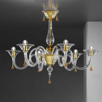 Handgefertigter 6-flammiger Kronleuchter aus venezianischem Glas, Made in Italy - Margherita