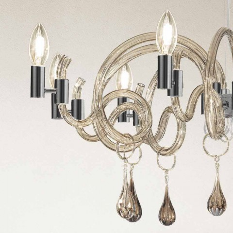 9-flammiger handgemachter Venedig Glas Kronleuchter Made in Italy - Bernadette