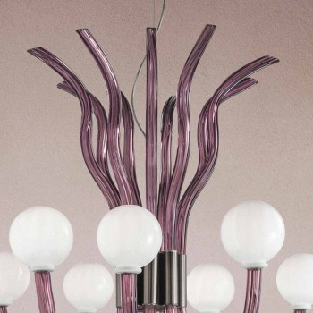 9-flammiger Amethyst-Kronleuchter aus venezianischem Glas Made in Italy - Antonietta