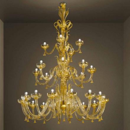 Handgefertigter Kronleuchter mit 28 Lichtern aus venezianischem Glas und Gold Made in Italy - Regina