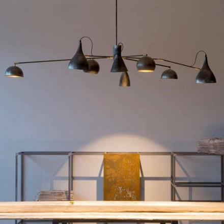 Handgefertigter Eisenleuchter mit Aluminiumschirmen Made in Italy - Verino