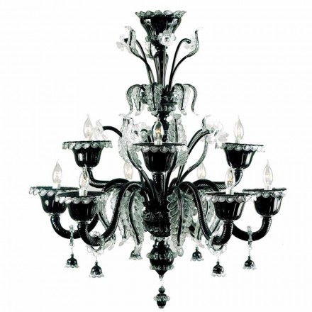 Murano Glass Classic Black Kronleuchter mit 9 Leuchten Made in Italy - Battistino