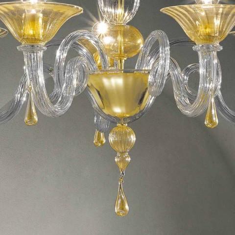 5 Lichter Venedig Glas Kronleuchter, handgefertigt in Italien - Margherita