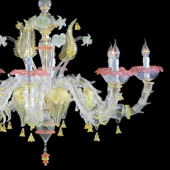 Murano Glas Kronleuchter 8 farbige Lichter Made in Italy - Adalciso