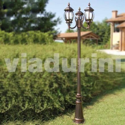Outdoor-Laternenpfahl mit zwei Leuchten aus Aluminium, made in Italy, Anika