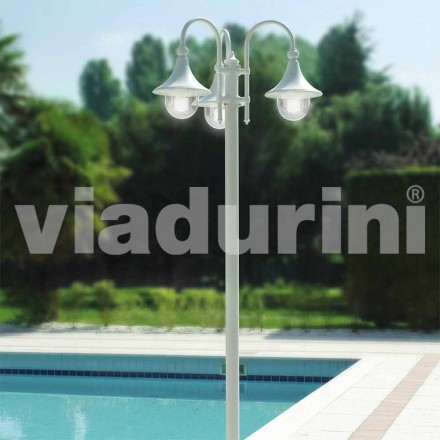 Outdoor drei Lichter Laternenpfahl aus weißem Aluminium, made Italy, Anusca