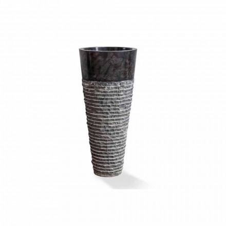 Säulenwaschbecken des modernen Designs in glänzendem schwarzem Marmor - Merlo