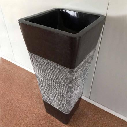 Freistehendes Design-Waschbecken aus dunkelgrauem Naturstein, Einzelstück