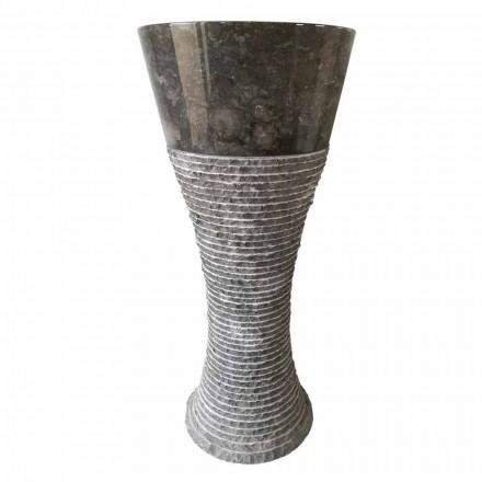 Natürlicher dunkelgrauer Stein freistehendes Waschbecken Fara, Einzelstück