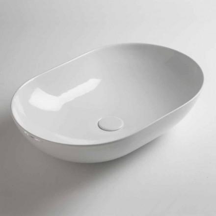 Ovales Aufsatzwaschbecken aus farbiger Keramik Made in Italy - Chain