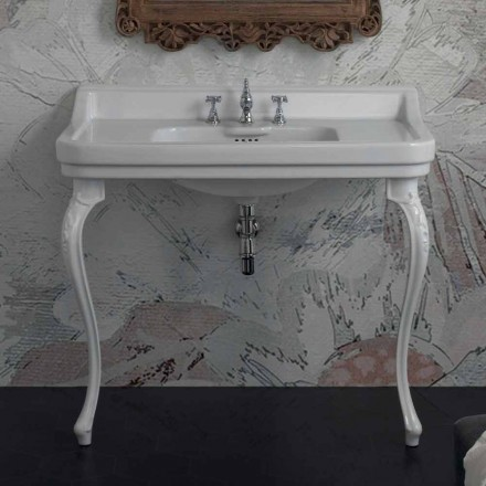 Waschbeckenkonsole aus weißen Keramik im klassischen Design made in Italy, Swami