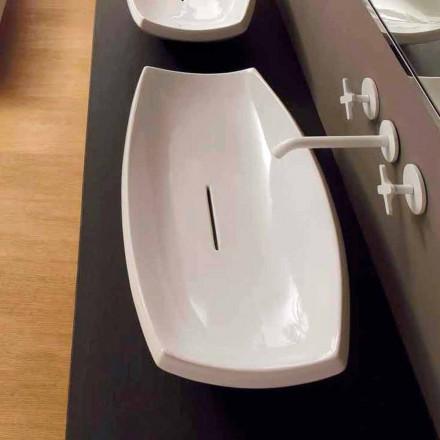 Aufsatzwaschbecken, weiß, Keramik, modernes Design Laura made in Italy