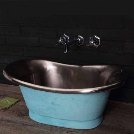 Aufsatzwaschbecken aus weißem Eisen und Grünspan Cala