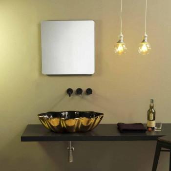 Aufsatzwaschtisch in Schwarz und Gold Keramik Design in Italien Cubo gemacht