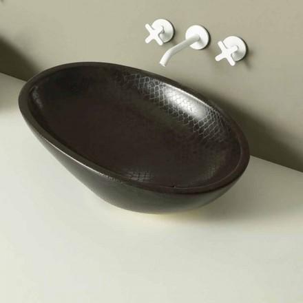 Design Aufsatzwaschbecken, schwarz-Python, Keramik Glossy made Italy